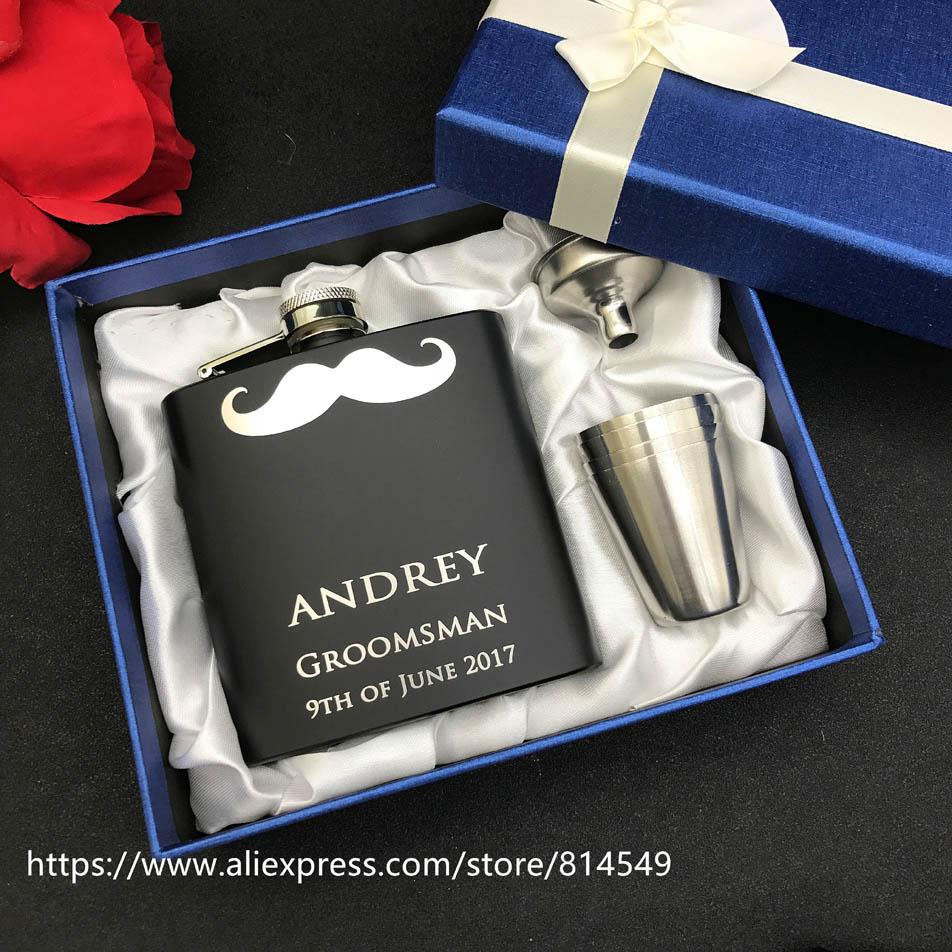 Engraved//Personalised *Jack Daniels Design* Black Hip Flask in Silk Box Gift