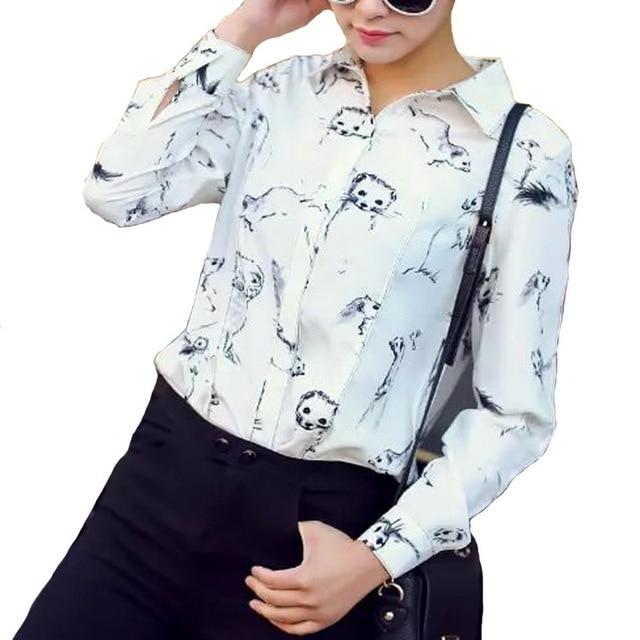 9bbeff678c Women cute animal print fashion blouses Sloth long sleeve turn-down collar  shirts Blusas Femininas Otter pattern tops