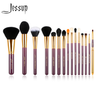 Jessup Pro 15pcs Makeup Brushes Set Powder Foundation Eyeshadow Eyeliner Lip Brush Tool Purple And Gold