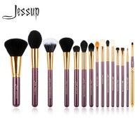 Jessup Pro 15 pcs Makeup Brushes Set Pó Fundação Sombra Delineador Lip Brush Tool Cosméticos ferramentas Roxo e Dourado