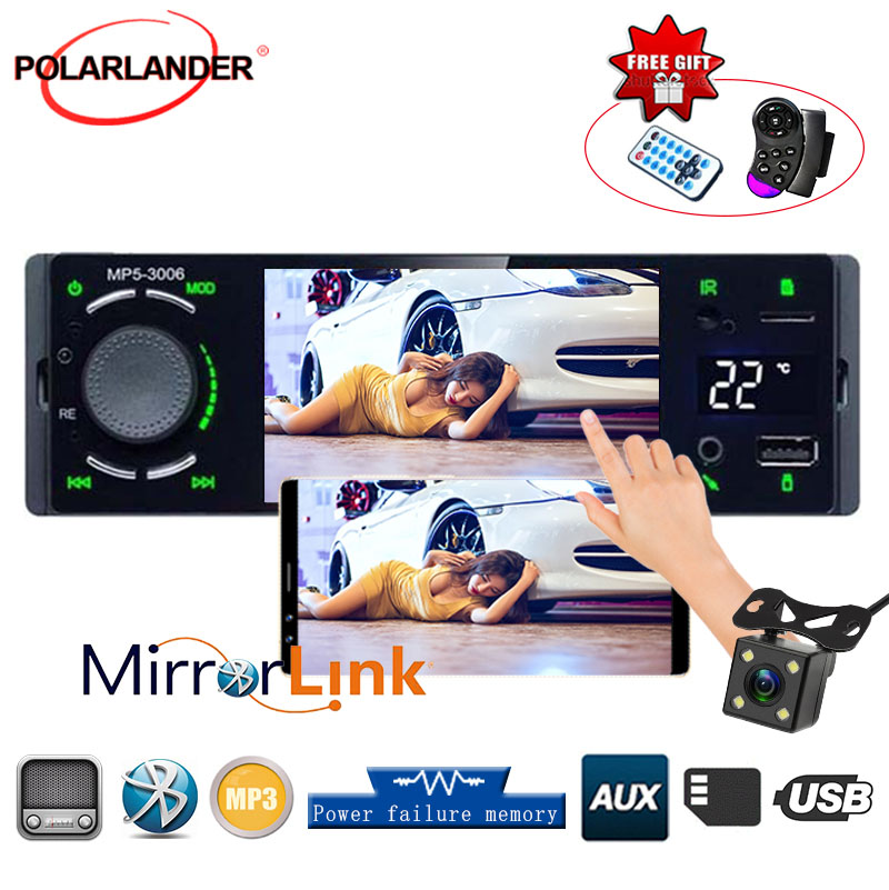 4.1 1 Din Car Radio USB Aux Player Autoradio HD Touch Screen Support Mirror Link Bluetooth Temperature Display Rear View Cam image