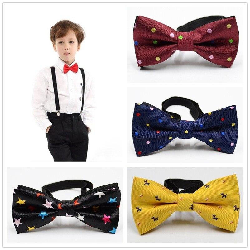 Analytisch Schule Jungen Kinder Kinder Bogen Hochzeit Plaid Dot Krawatte Krawatte Satin Bowtie Krawatte Für Hochzeit Partei Einstellbare Bogen Te Knoten