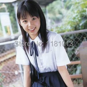 Image 4 - Japanese high school Schoolgirl Square collar short sleeve shirt Opacity solid white uniform shirts