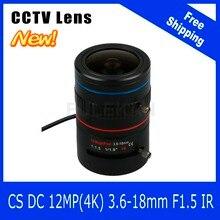 12Megapixel Varifocal CCTV 4K Lens 1/1.8 inch 3.6-18mm CS Mount DC IRIS For SONY IMX226/178 Box Camera/4K Camera Free Shipping