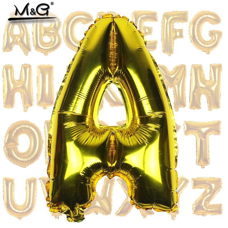 Balões laminados de alumínio e ouro 16 polegadas, balões decorativos de letras para casamentos, aniversários e festas, 1 peça
