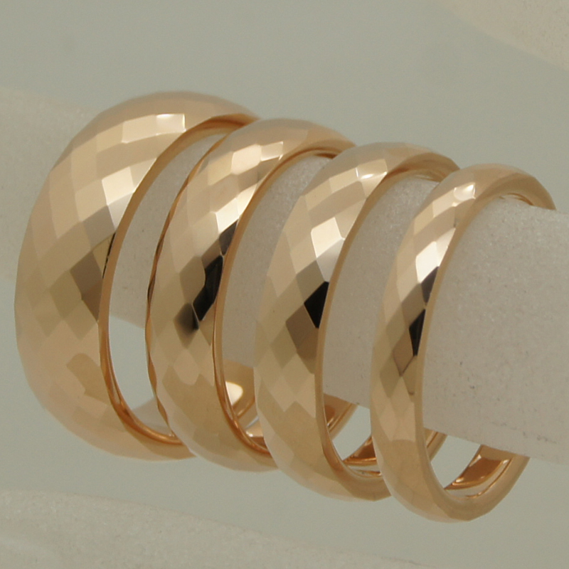 3mm width rare women/girl rose gold plating multi facet tungsten ring - Fashion Jewelry - Photo 3