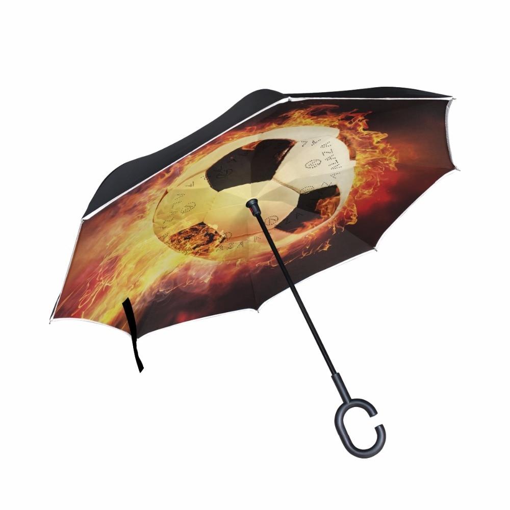 Burning Football Inverted Umbrella Double Layer Printing Windproof Rain Car Large Reverse Umbrellas For Men/Women