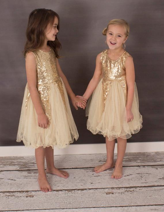 Gold flower girl dresses images