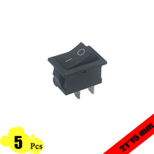 5pcs/lot 21*15mm SPST 2PIN Snap-in ON/OFF Position Snap Boat Rocker Switch 6A/250V High Quality Copper feet
