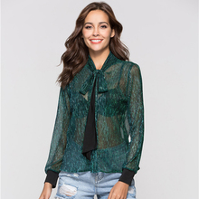 New 2018 Spring Summer Fashion Womens Shirt Female Transparent Reflective Mesh Bow Office Blouses and Tops