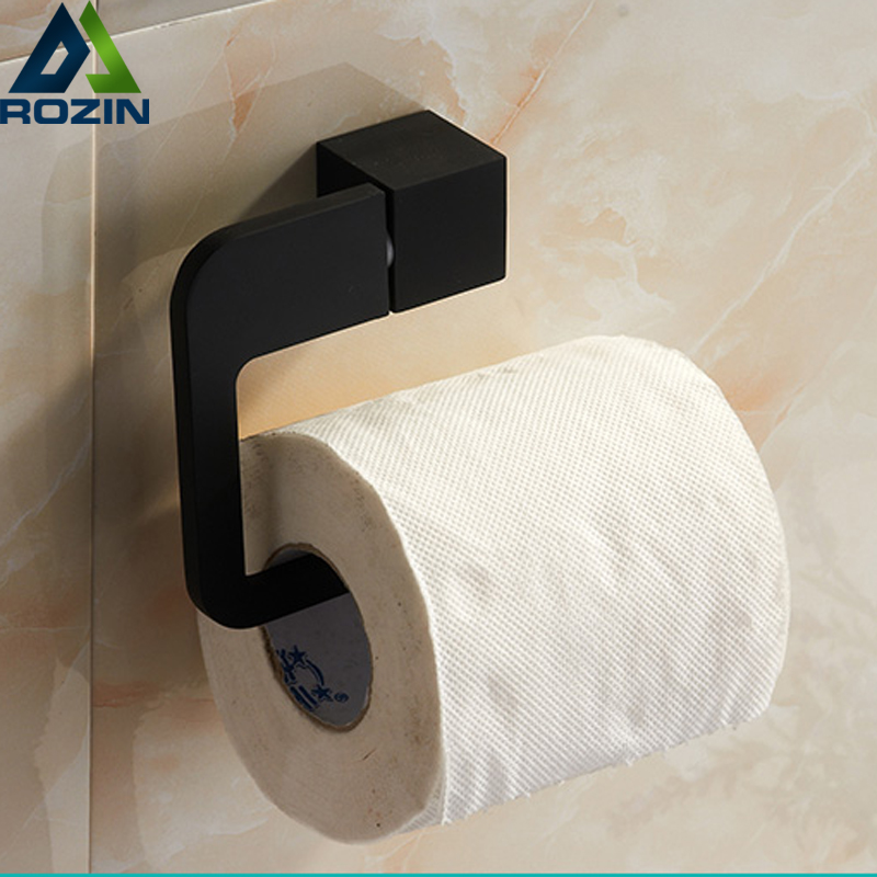 Stainless Steel Wall Mounted Toilet Paper Holder Bathroom Black Paper Tissue Roller Rod Square Shape Free Shipping stainless steel wall mounted waterproof toilet roll paper holder of high capacity for toilet hotel and bathroom