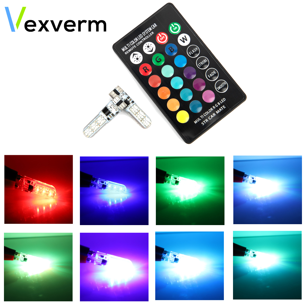 Vexverm T10 RGB W5W LED Car Clearance Lights 194 168 Bulb Remote Width Interior Lighting For Brake Reading Dome License Lights