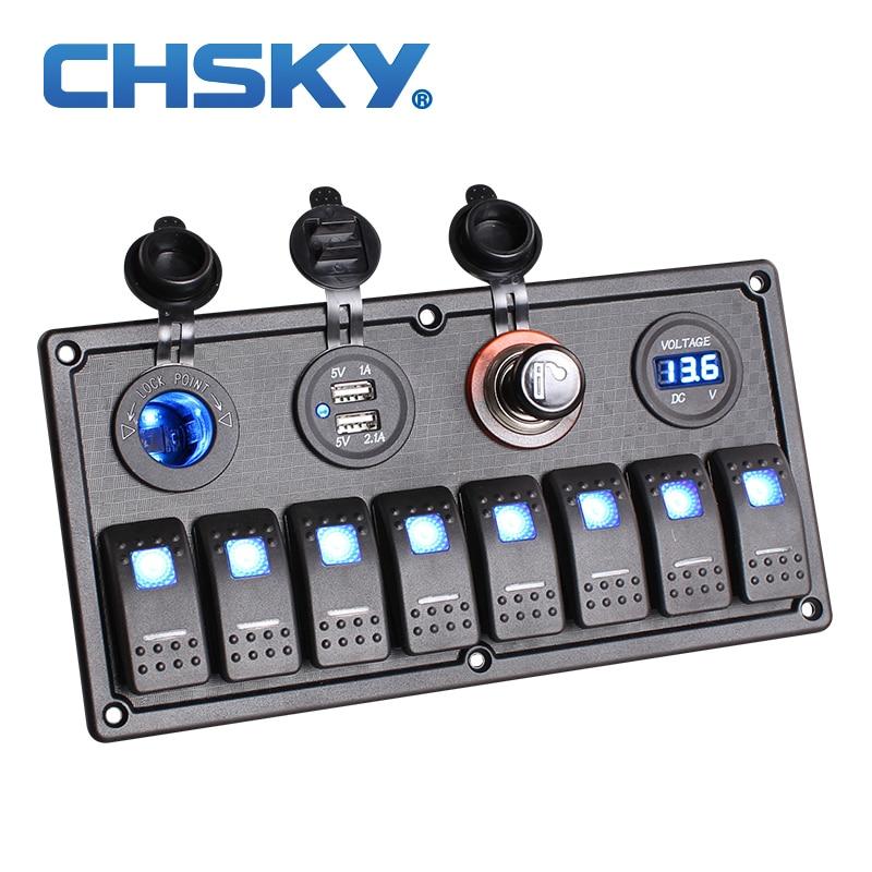 CHSKY 8 Gang LED Car Boat Rocker Switch Panel Dual USB Cigarette Lighter Socket Voltmeter Car