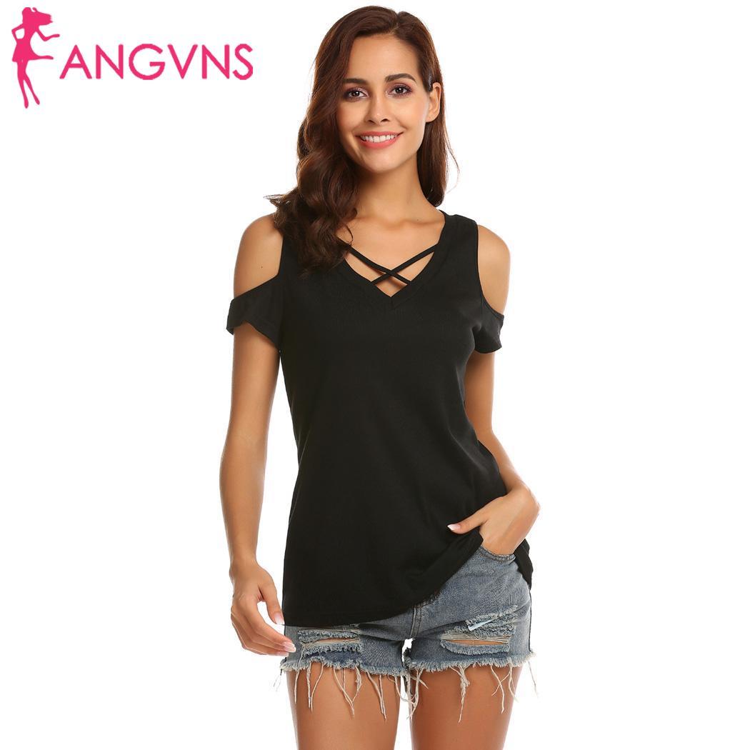 Cold cross t-shirt 90cm height 176cm shoulder sleeve v-neck solid 59cm loose waist hip 88cm casual women bust short