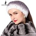 Зима женщины меха повязки трикотажные рекс кролика галстуков для женщины натуральный мех обернуть голову ухо теплым 2015 новые моды hairband