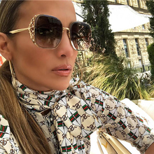 SO&EI Diamond-encrusted Sunglasses Fashion Box Hollow Oversized Frame Women Sun Glasses Sunshade UV400 Gafas De Sol