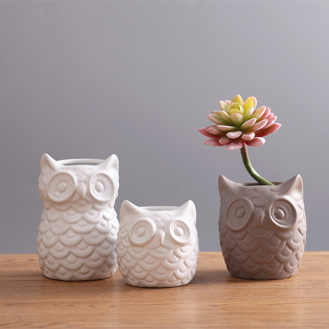 Nordic White Coruja Ceramica Owl Vase Home Decor Pot Flower Crafts Room Decoration Ornaments Porcelain Animal Figurine