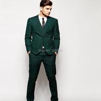 wuzhiyi New Arrival Groomsmen Notch Lapel Groom Tuxedos Green Two Buttons Men Suits Wedding Best Man Suit (Jacket+Pants+Vest)