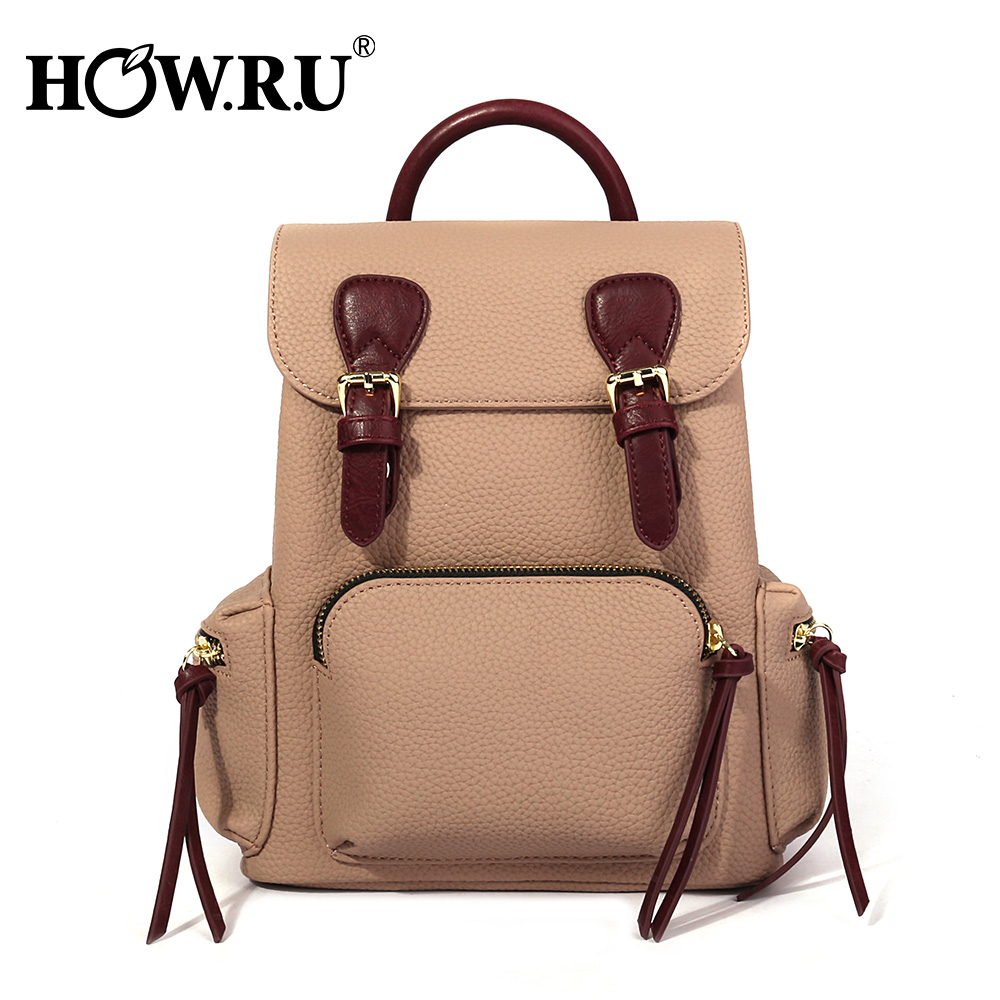 HOWRU Women Backpack for School Style Leather Back Pack For College Simple Women Casual Daypacks Famous