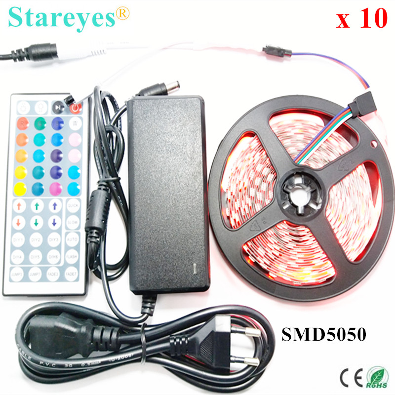 Free Shipping 10 Sets 5M 300 LED SMD 5050 RGB Strip DC12V Flexible Non Waterproof Strip Light With IR Remote + 5A Power Adapter