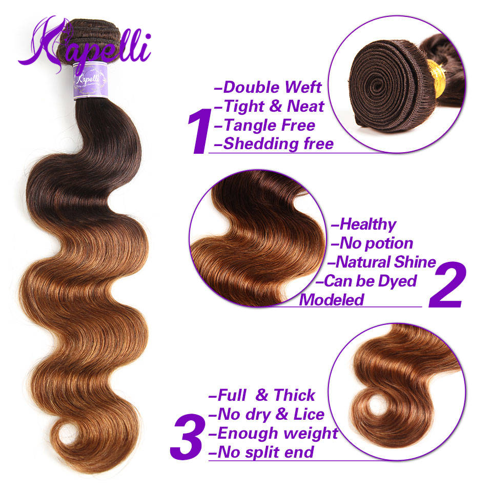 Pre-colored 4 Bundles With Closure Remy Malaysian Body Wave Hair Human Hair Weave Bundles One Pack Ombre Blonde Free Ship