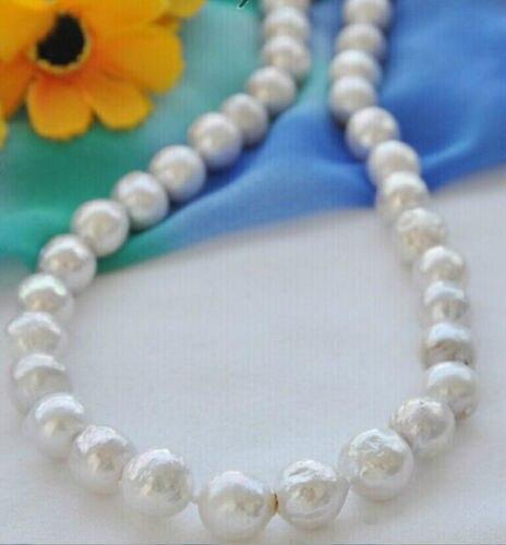 Collier de perles baroques blanches de mer du sud 12-14mm de mer du sud ^ ^ ^ ^ @ ^ Noble style naturel fin jewe livraison gratuite