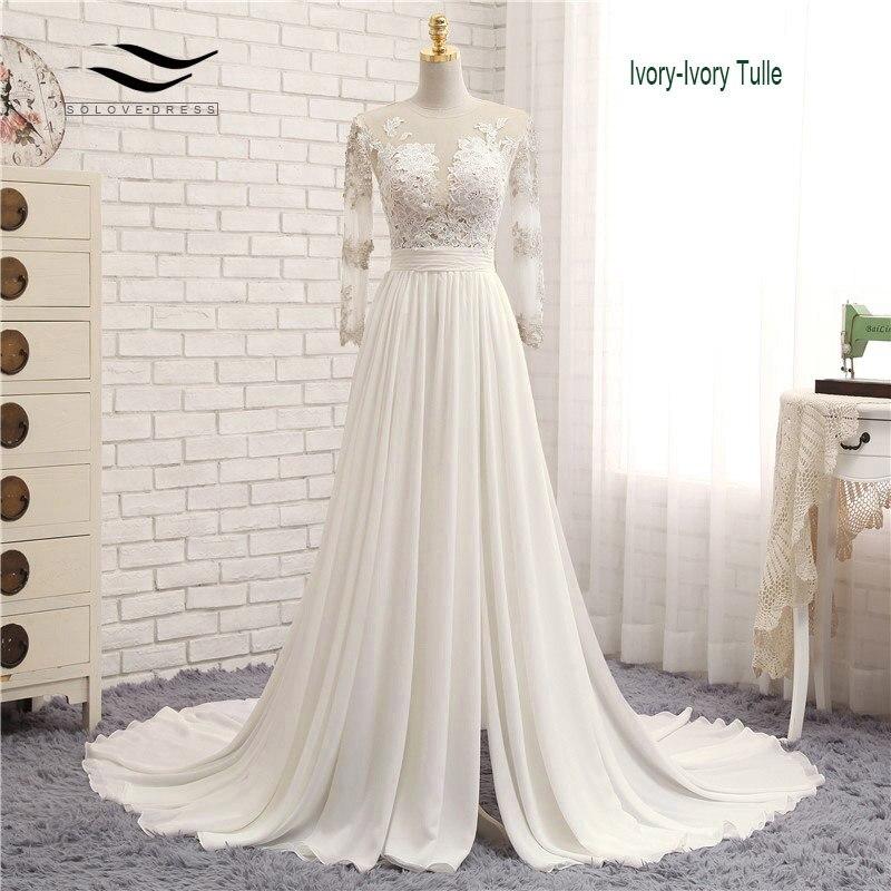 Appliques Sexy V neck Chiffon Chapel Train Long Zipper Lace A Line Beach Wedding Dress Long