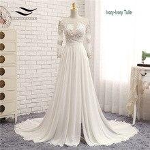 Аппликации сексуальное шифоновое свадебное платье с v-образным вырезом с длинным шлейфом на молнии, кружевное платье трапециевидной формы для пляжа, свадебное платье с длинными рукавами, свадебное платье SLD-W593