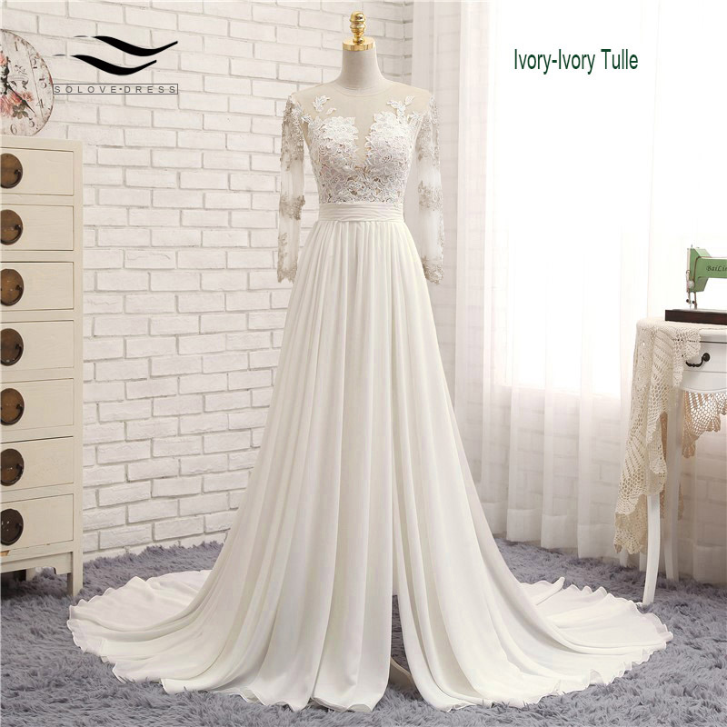 Appliques Sexy V-neck Chiffon Chapel Train Long Zipper Lace A Line Beach Wedding Dress Long Sleeves Bridal Gown 2018 SLD-W593