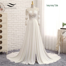 Appliques Sexy V neck Chiffon Chapel Train Long Zipper Lace A Line Beach Wedding Dress Long Sleeves Bridal Gown 2018 SLD W593