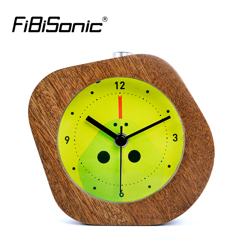 FiBiSonic Chinese Zodiac Wooden Snooze Night Light Snake Alarm Clock Wood Desktop Needle Table Clocks Saat Despertador