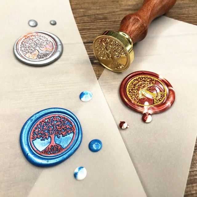 Whism Br Head Sealing Stamp Wood Handle Wax Wedding Invitation Seal Christmas