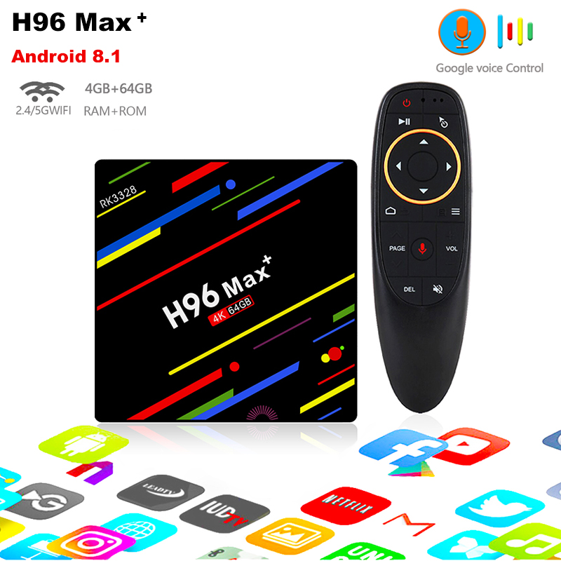 цена h96 max plus RK3328 Quad Core android 8.1 4gb DDR3 64gb rom voice remote tv box BT4.0 2.4g/5g wifi support 4K 1080P media play
