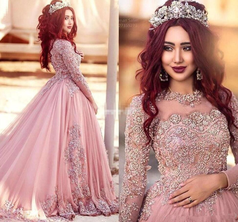 Pink Muslim   Prom     Dresses   2019 Ball Gown Long Sleeves Tulle Lace Beaded Islamic Dubai Saudi Arabic Long Elegant Evening Gown