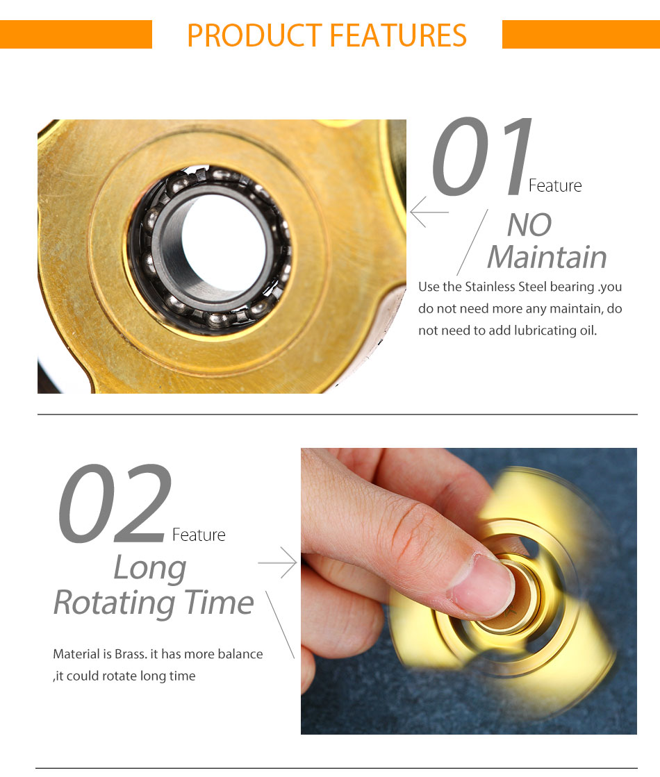 Do Dower Tri-Bar Fidget Spinner Brass Color Triangle EDC Hand Spinner Stress Reliever Gifts Spinner Hand with R188 Steel Bearing