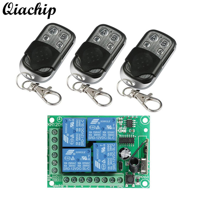 QIACHIP 433Mhz DC 12V 4 CH Remote Control Switch RF Relay Receiver Module + 3pcs 433 Mhz RF Transmitter Remote Controls Diy Kit