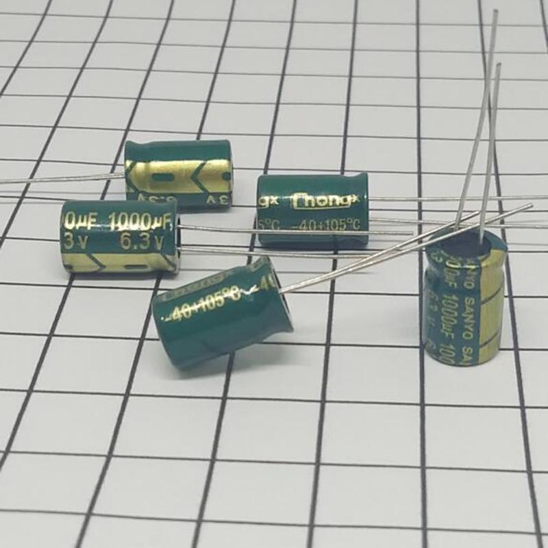 High Quality 50 Pcs/Lot 1000UF 6.3V Volume 8*12 Mail Dip Electrolytic Capacitors 1000 UF 6.3 V IC