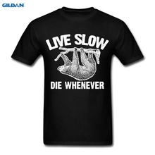 29d6c2591f0 Animals Funny Quotes Sloth Live Slow Die Whenever Men s T-Shirt