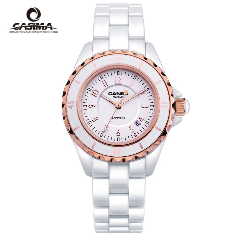 Luxury Brand Women Watches Dazzle Beauty Space Ceramic Quartz Wrist Watch Bracelet Ladies Watches White Clock Reloj Mujer CASIMA