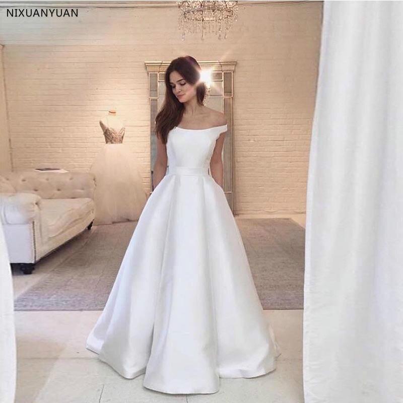 Vintage Boat Neck Wedding Dress Princess A-line Vestido De Noiva Simple Satin Full Length Off Shoulder Bridal Gowns Cheap 2019