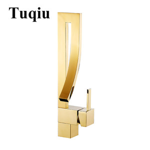 Image 5 - Basin Faucets Gold Brass Faucet Square Bathroom Sink Faucet Single Handle Deck Mounted Toilet Hot And Cold Mixer Water Tap