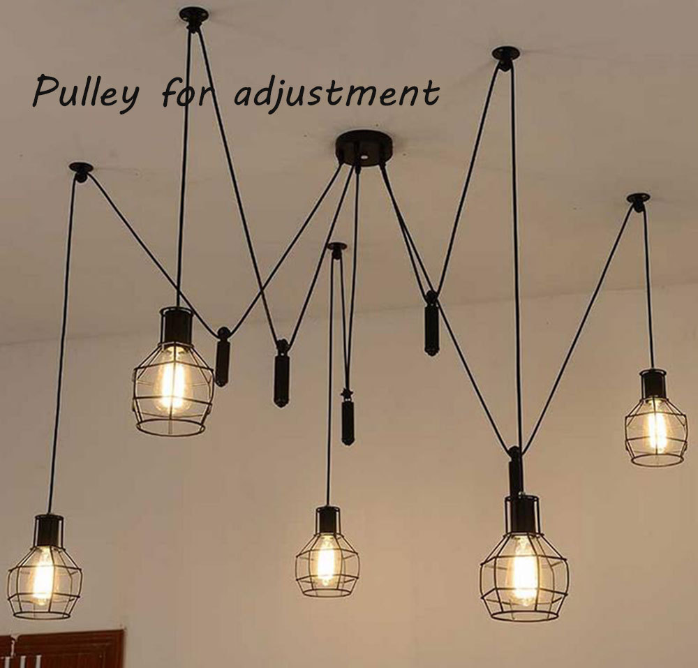 fashion new industrial country style iron frame pendant lights art spider suspension lamp 5. Black Bedroom Furniture Sets. Home Design Ideas