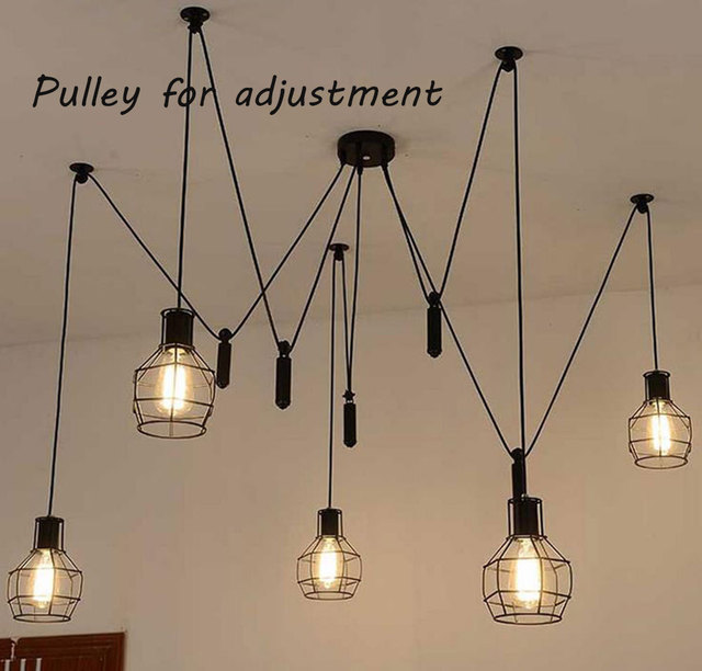Fashion New Industrial Country Style Iron Frame Pendant Lights Art Spider Suspension L& 5 lights pulley & Fashion New Industrial Country Style Iron Frame Pendant Lights Art ... azcodes.com