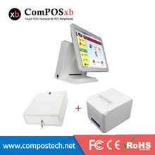 15 inch TFT LED Supermarket Pos System Full Set All In One Pos With Cash Box And Thermal Printer For Retail Shop