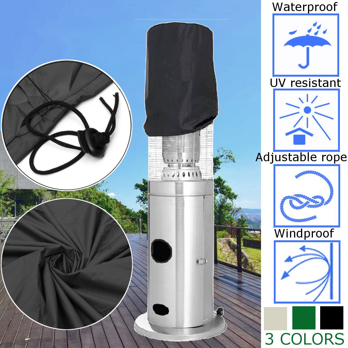 50*45*45cm 3 colores al aire libre lluvia resistente al agua calentador Protector patio trasero calentador de patio de jardín polvo cubierta multiusos