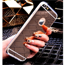 Fashion Mirror Case For iphone5 5S 5SE 6 6S 4.7 / 6 6S Plus Back Cover Plating Soft Clear Silicone Phone Bag Case Accessories