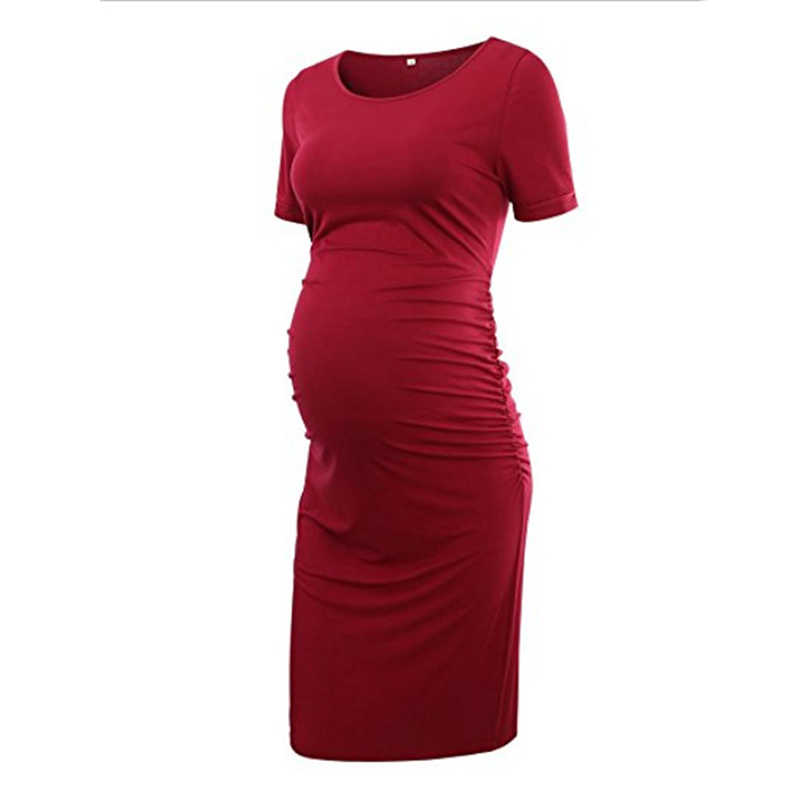 Women's Short Sleeve Maternity Dresses Casual Pregnancy Clothes Bodycon Baby Shower Dress pregnant sheath dress solid color