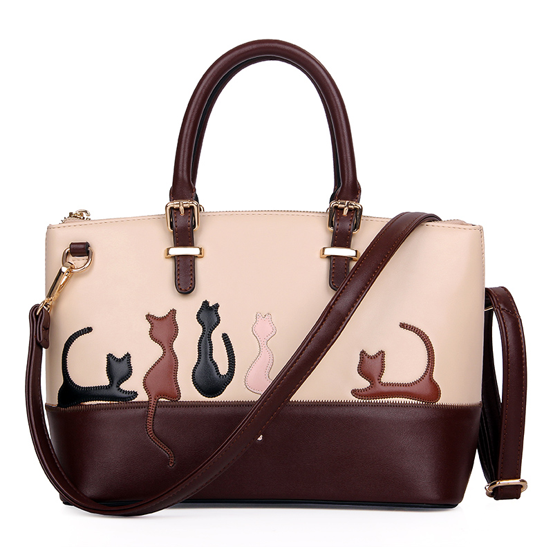 Fzmbai Women Cute Cat Handbag Autumn And Winter Lady Pu Leather Brief Bags Fashion S Messenger Bag In Top Handle From Luggage On