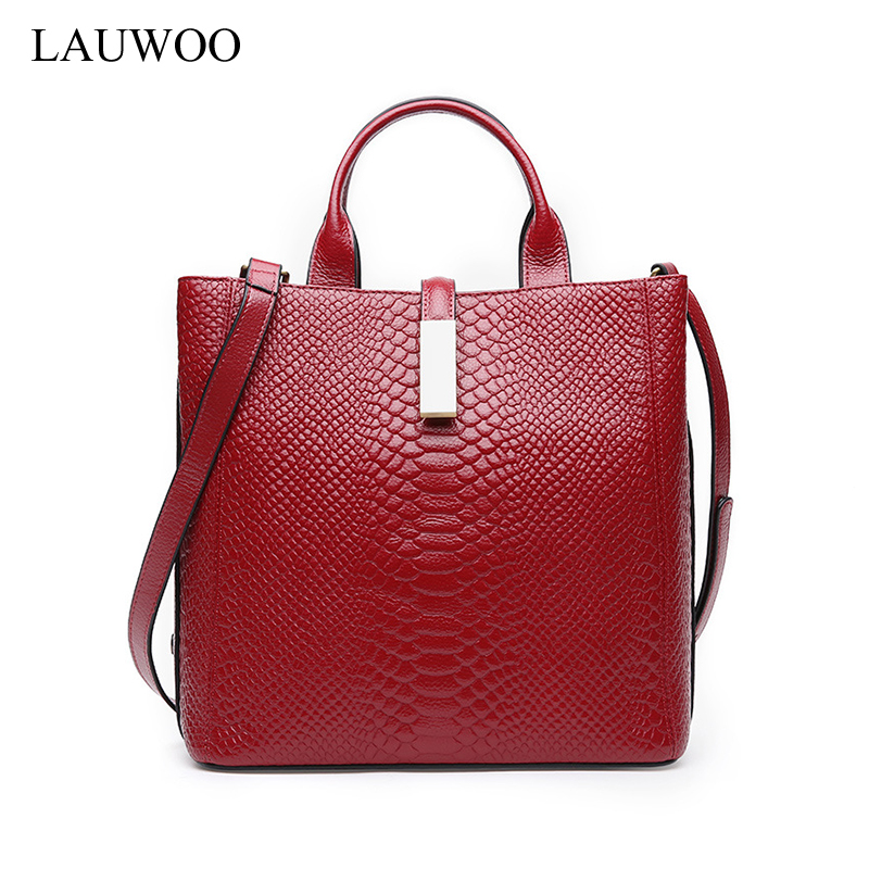 LAUWOO brand Female genuine leather handbags women casual tote bag female serpentine prints Shoulder Bags  large crossbody bags lauwoo fashion women luxury brand handbag female crocodile prints genuine leather shoulder bag lady elegant tassels tote bags