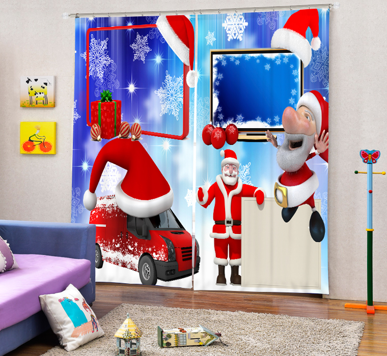 Christmas Decorative 3D Blackout Curtains For Baby Girls <font><b>Kids</b></font> Bedding room Living room Drapes Cortinas para sala